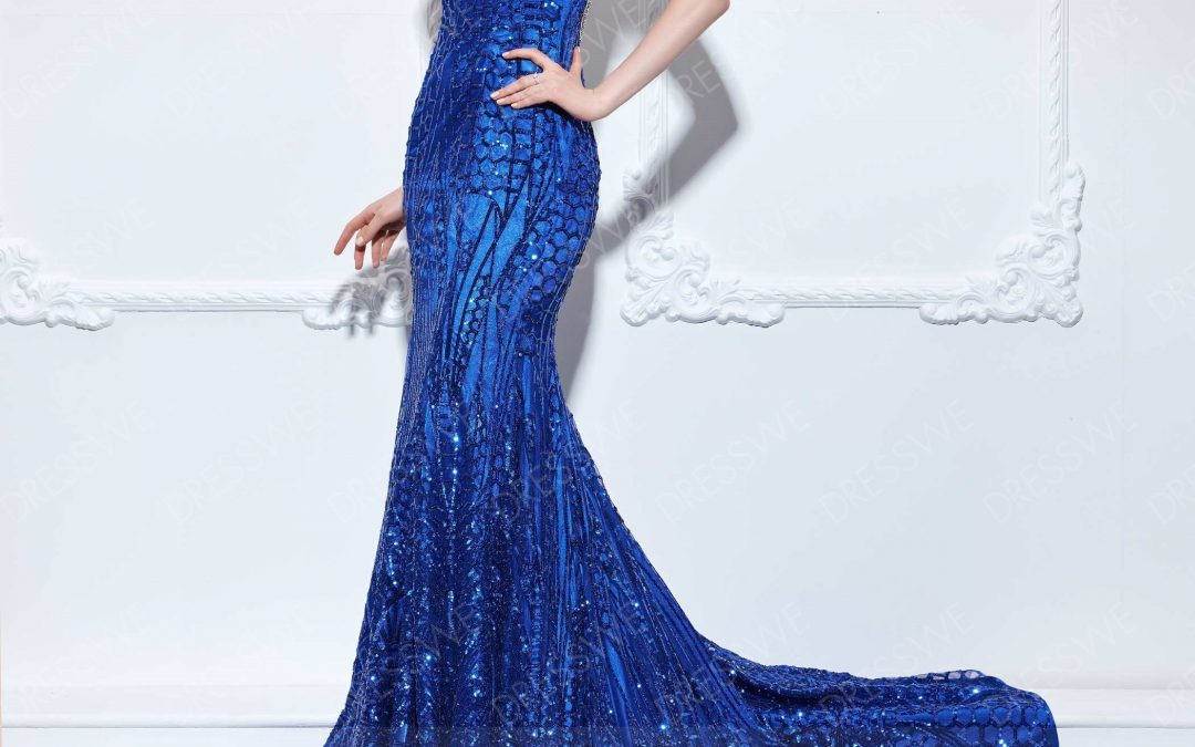 Gorgeous Beading Cap Sleeves Sequins Mermaid Floor Length Sweep Train Evening Gown
