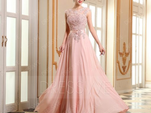 First-Class A-line Beading Applique Floor Length Prom Dress