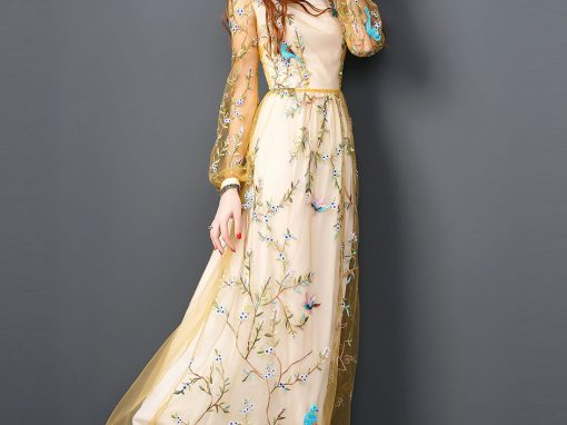 Yellow Lace Embroidery Elegant Maxi Evening Dres